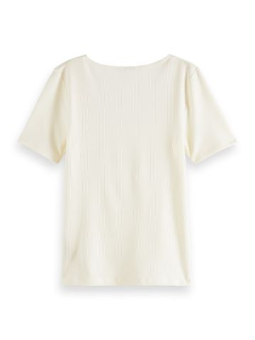 Scotch & Soda | Fitted square neck tee in rib quality