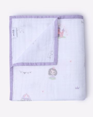 Mothercare   Mila Baby Muslin Blanket Princess and Crown Pink