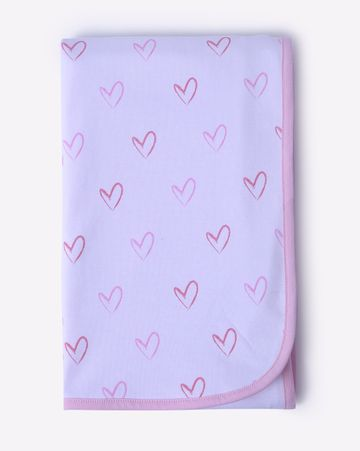 Mothercare   Mila Baby Organic Knit Receiving Blanket Pink Hearts