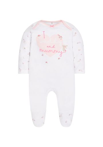 Mothercare   Girls I Love Daddy And Mummy Sleepsuit - Pink