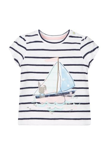 Mothercare | Girls Stripe Boat T-Shirt - White