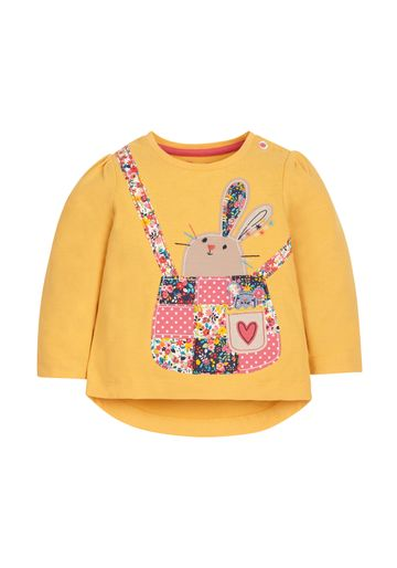 Mothercare | Girls Full Sleeves T-Shirt Bunny Patchwork - Mustard
