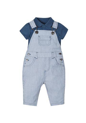 Mothercare | Boys Stripy Dungarees And Polo Bodysuit Set - Navy