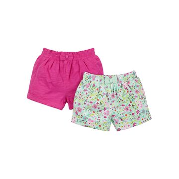 Mothercare | Girls Ditsy Floral And Raspberry Shorts - Pack Of 2 - Multicolor
