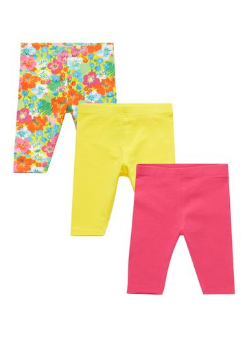 Mothercare | Girls Floral And Plain Cropped Leggings  - 3 Pack - Yellow