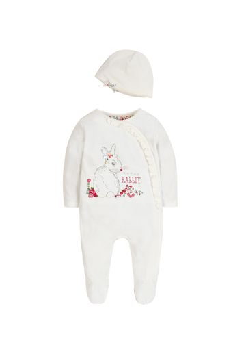 Mothercare | Girls Velour Bunny All In One With Hat - Cream