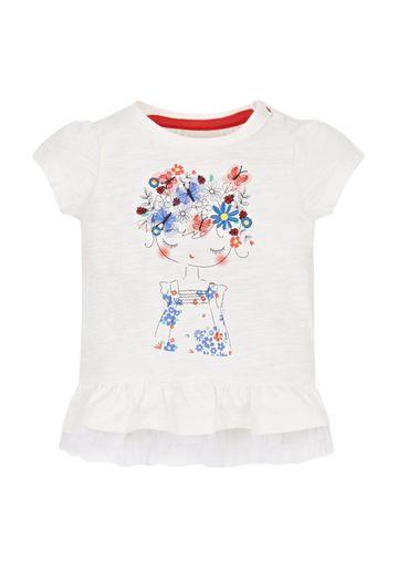 Mothercare   Girl Frill Hem T-Shirt - White