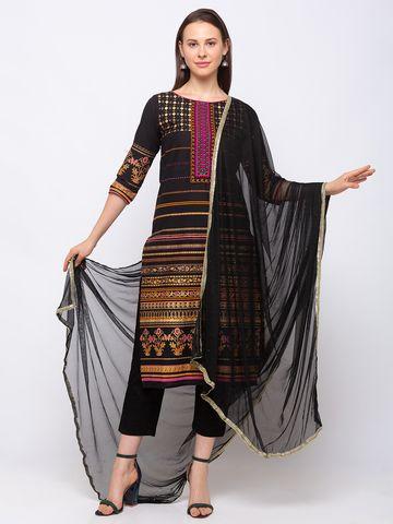 Ethnicity | Ethnicity Women Occasion Net  Black Dupatta