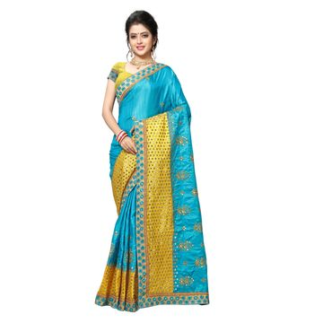 SATIMA | DESIGNER LEMON COLOR EMBROIDERED SILK BLEND SAREE
