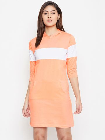 Jhankhi | Orange Colourblocked Shift Dress Hoodie