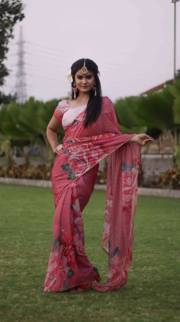 SATIMA | Satima Woven Work with print Pink Satin Saree
