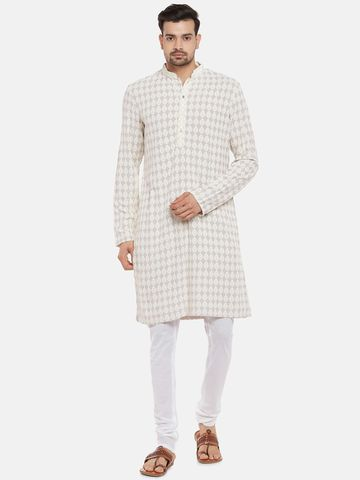 Ethnicity | Viscose Rayon Full Sleeve Straight Men Light Grey Kp Set