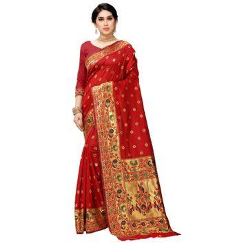 POONAM TEXTILE | Designer Banarasi Jacquard Silk Woven Red Saree