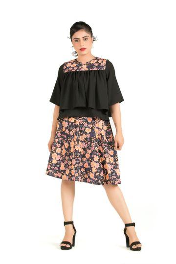 EUDORA CUT | Floral Printed Flared Skirt Black