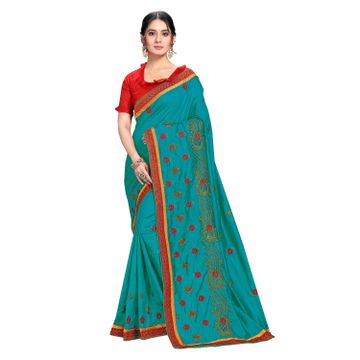 SATIMA | Designer Sky Blue Silk Blend Leheriya Embroidered Saree