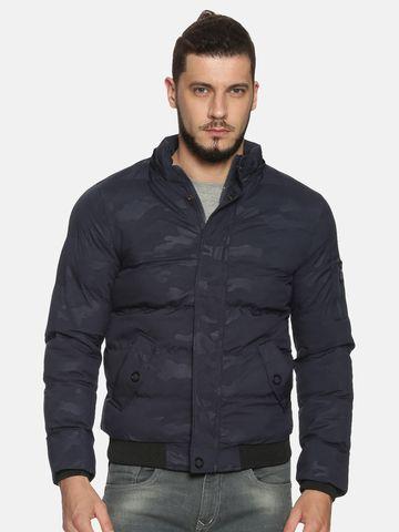 Showoff | Men NavyBlue Camouflage Padded Jacket with Detachable Hood