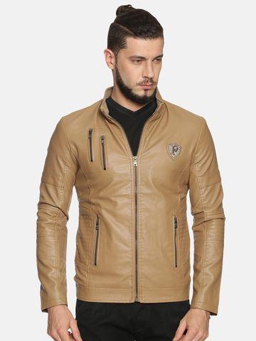 Showoff | Men Khaki Casual Solid Leather jacket
