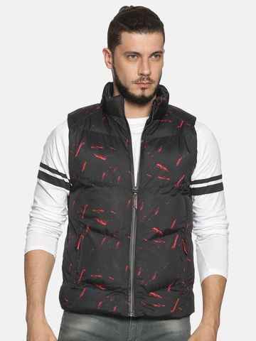 Showoff | Men Black Printed Padded Jacket with Detachable Hood