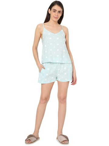 Smarty Pants | Smarty Pants women's cotton pastel blue color heart & polka dot print night suit