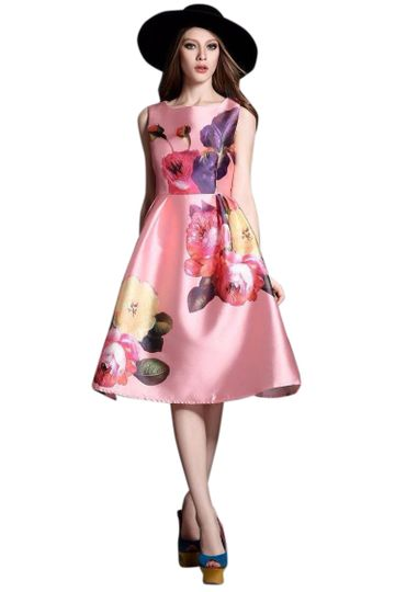 POONAM TEXTILE | Pink Floral Satin Western Dress