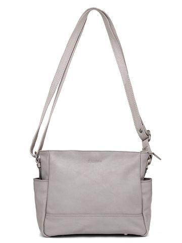 WildHorn | WildHorn Upper Grain Genuine Leather Ladies Tote, Sling, Shoulder, Hand Bag with Adjustable Strap - Grey