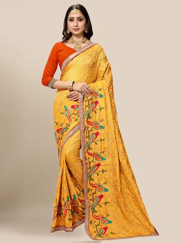 SATIMA | Women's Designer Mustard Embroidered Silk Blend Saree