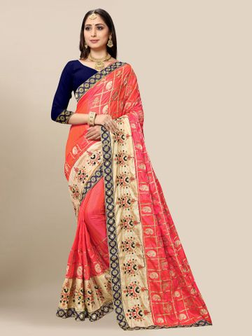 SATIMA | Women's Embroidered Gajari Silk Blend Pochampally Leheriya Saree