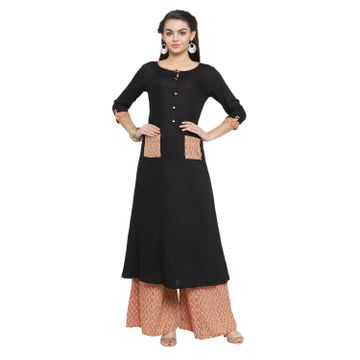 SATIMA | SatimaBlackSolidRayonDressMaterial