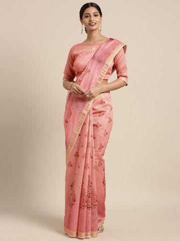 SATIMA | Satima Pink & MultiLinen CottonFloral Print Saree