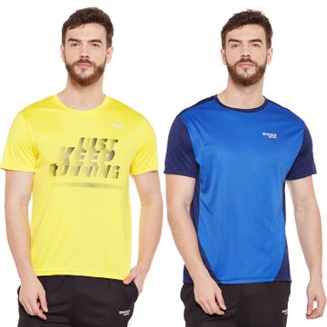Masch Sports | Masch Sports Mens Polyester Printed & Colourblocked T-Shirts- Pack of 2 (Yellow,Royal Blue & Navy Blue)