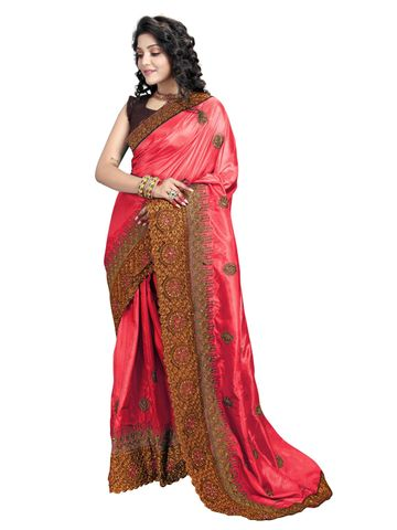 SATIMA | Designer Gajari Silk Blend Self-Design Embroidered Saree