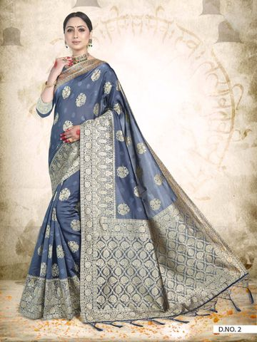 POONAM TEXTILE | TRADITIONAL BANARASI GREY ART SILK WOVEN ZARI FESTIVE SAREE