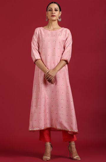Janasya | Janasya Women's Pink Poly Silk Kurta