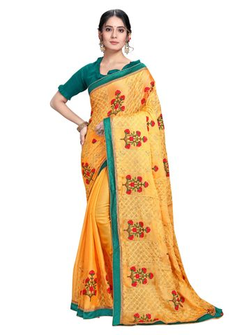 SATIMA | Designer Mustard Chiffon Self-Design Embroidered Saree