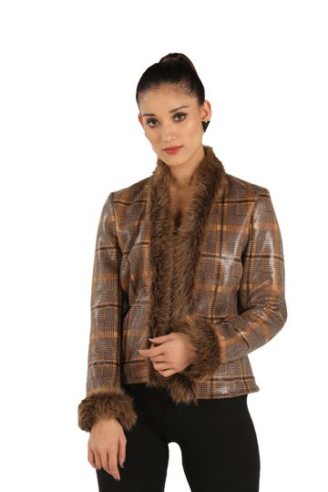 EUDORA CUT | Front Open Brown Fur Checkered Jacket