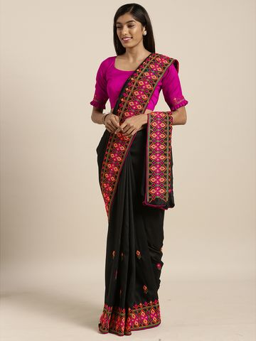 SATIMA | Satima BlackGeorgetteThread Embroidery Saree