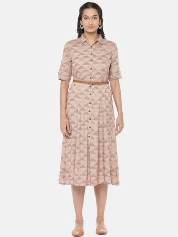 Ethnicity | Rayon Straight Women Nude Pink Dress