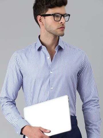 The Bear House | Men Blue & White Slim Fit Striped Formal Shirt