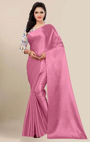 SATIMA   Fancy Pink Solid Casual Wear Saree