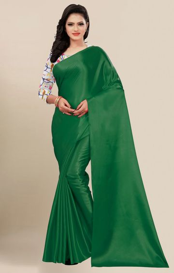 SATIMA | Fancy Dark Green Solid Casual Wear Saree
