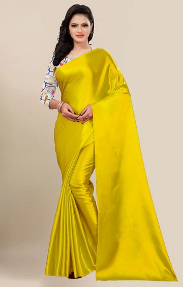 SATIMA | Fancy Yellow Solid Casual Wear Saree