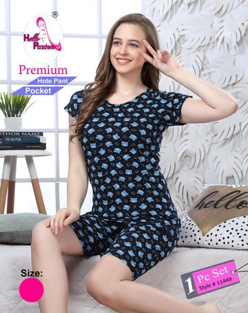 SIMARAA FAB | Satima Blue cotton printed night wear
