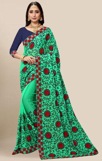 SATIMA | Designer Green Chiffon Self-Design Embroidered Saree