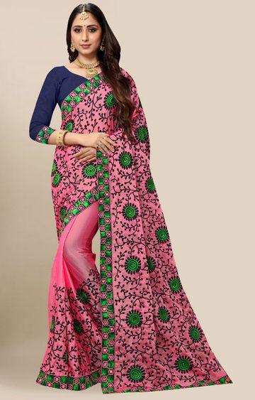 SATIMA | Designer Pink Chiffon Self-Design Embroidered Saree