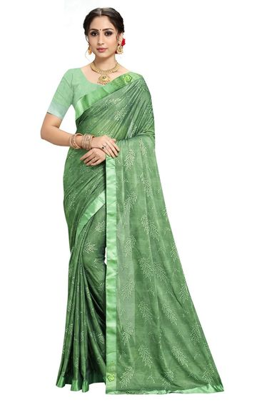SATIMA | Designer Green Lycra Self-Design Lace Saree