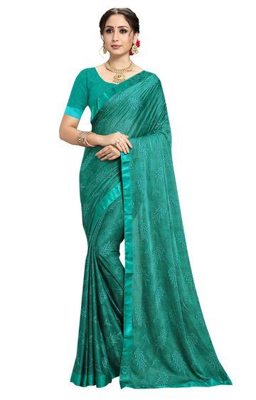 SATIMA | Designer Rama Lycra Self-Design Lace Saree