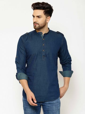 Eppe | EPPE Men's Solid Smart Fit Full Sleeves Casual Denim Shirt Kurta