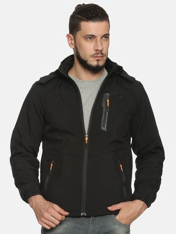 Showoff | Men Black Solid Sporty Jacket with Detachable Hood