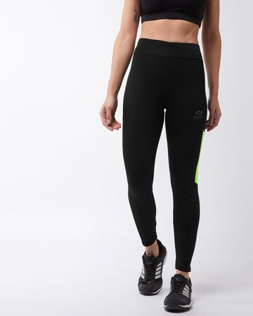 Masch Sports | Masch Sports Women's Black Solid Sports Tights with Colour Block Fluorescent Neon Side Panel