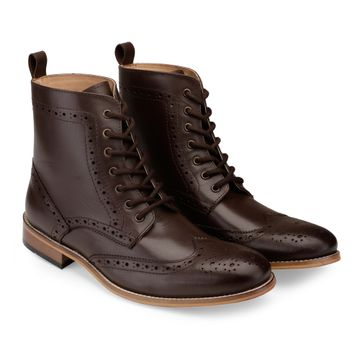 Hats Off Accessories | Hats Off Accessories Genuine Leather Brown Wingtip High Ankle Boots